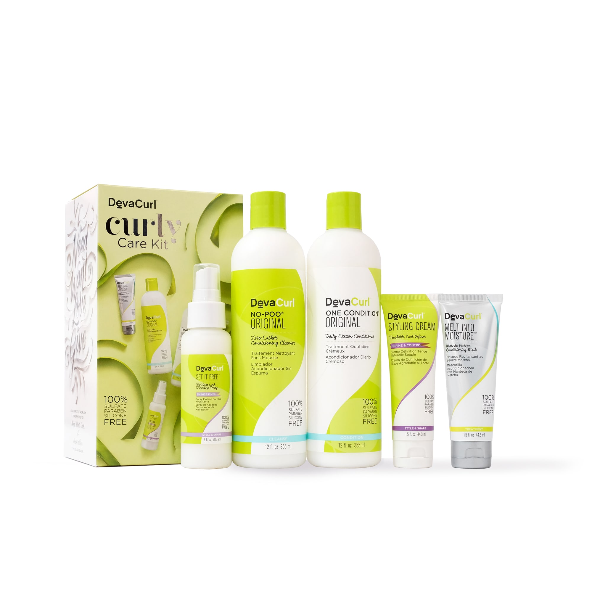 curly care kit box with bottles outside box