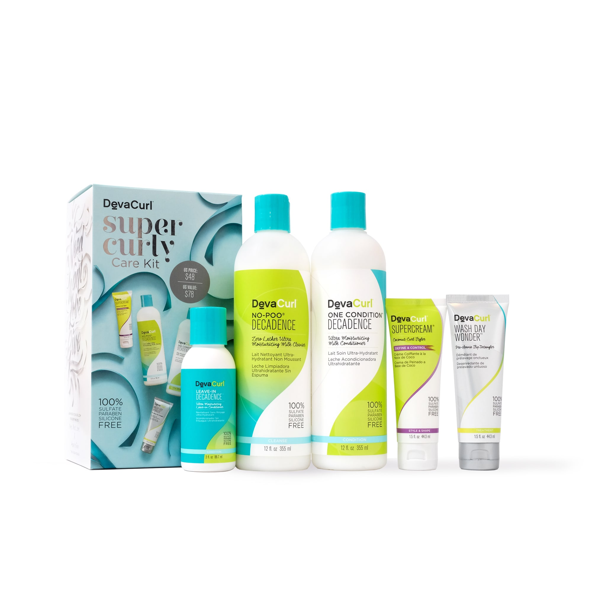 super curly care kit with bottles outside the box