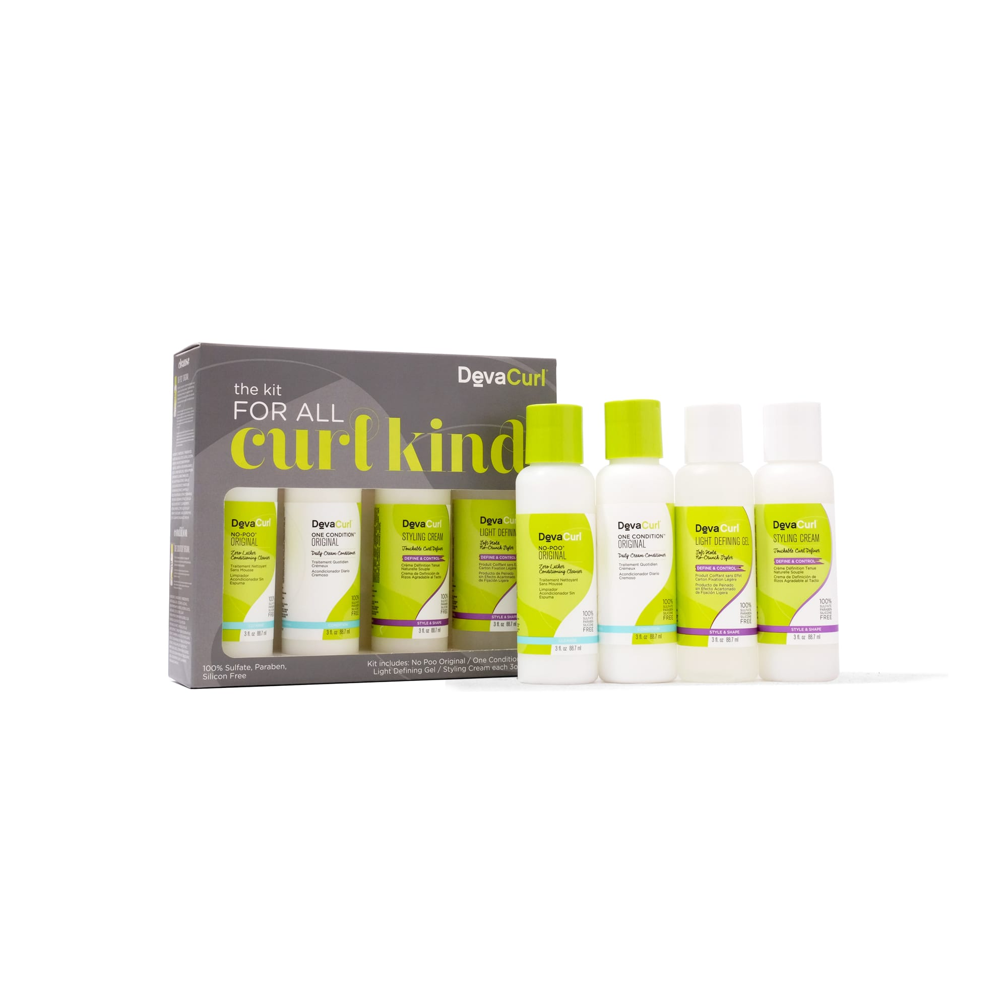 kit for all curl kind with 3oz bottles outside the box