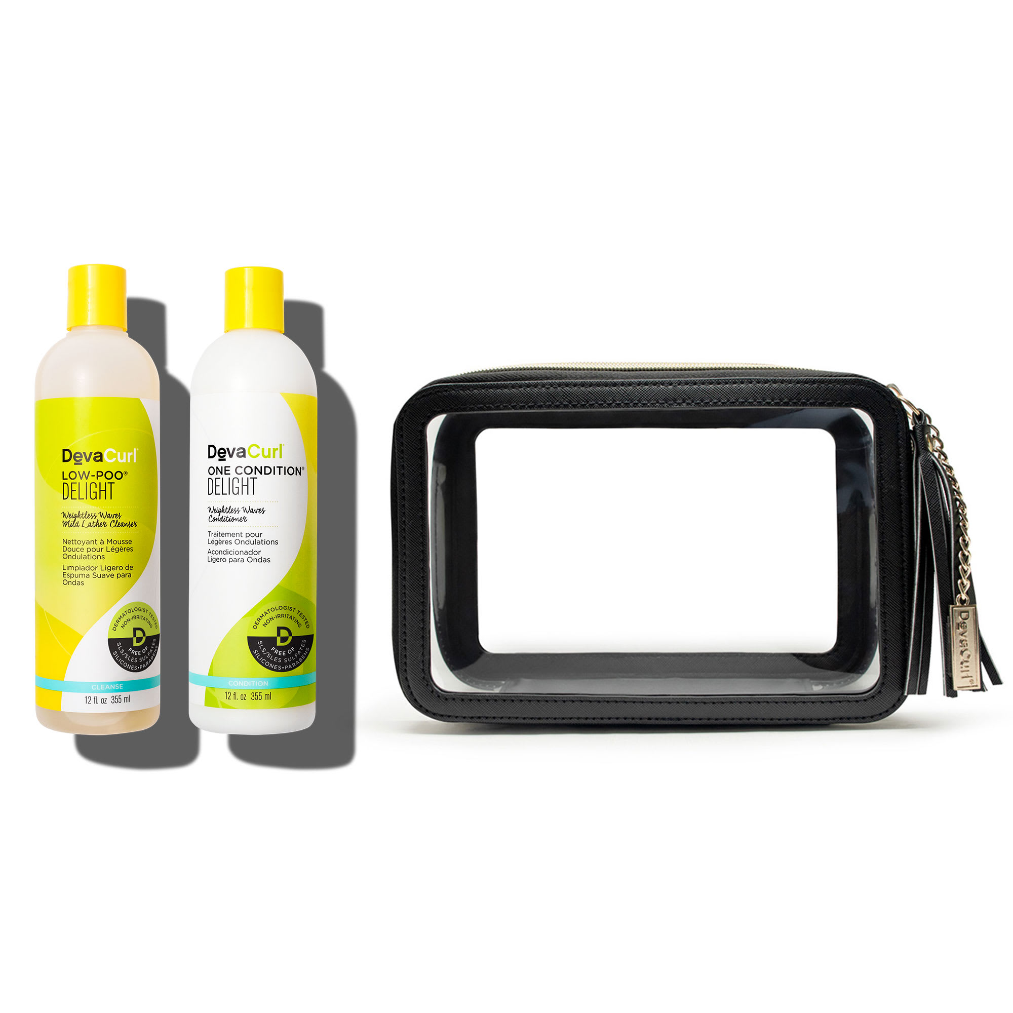 Delight cleanser and conditioner bottles + DevaTravel case