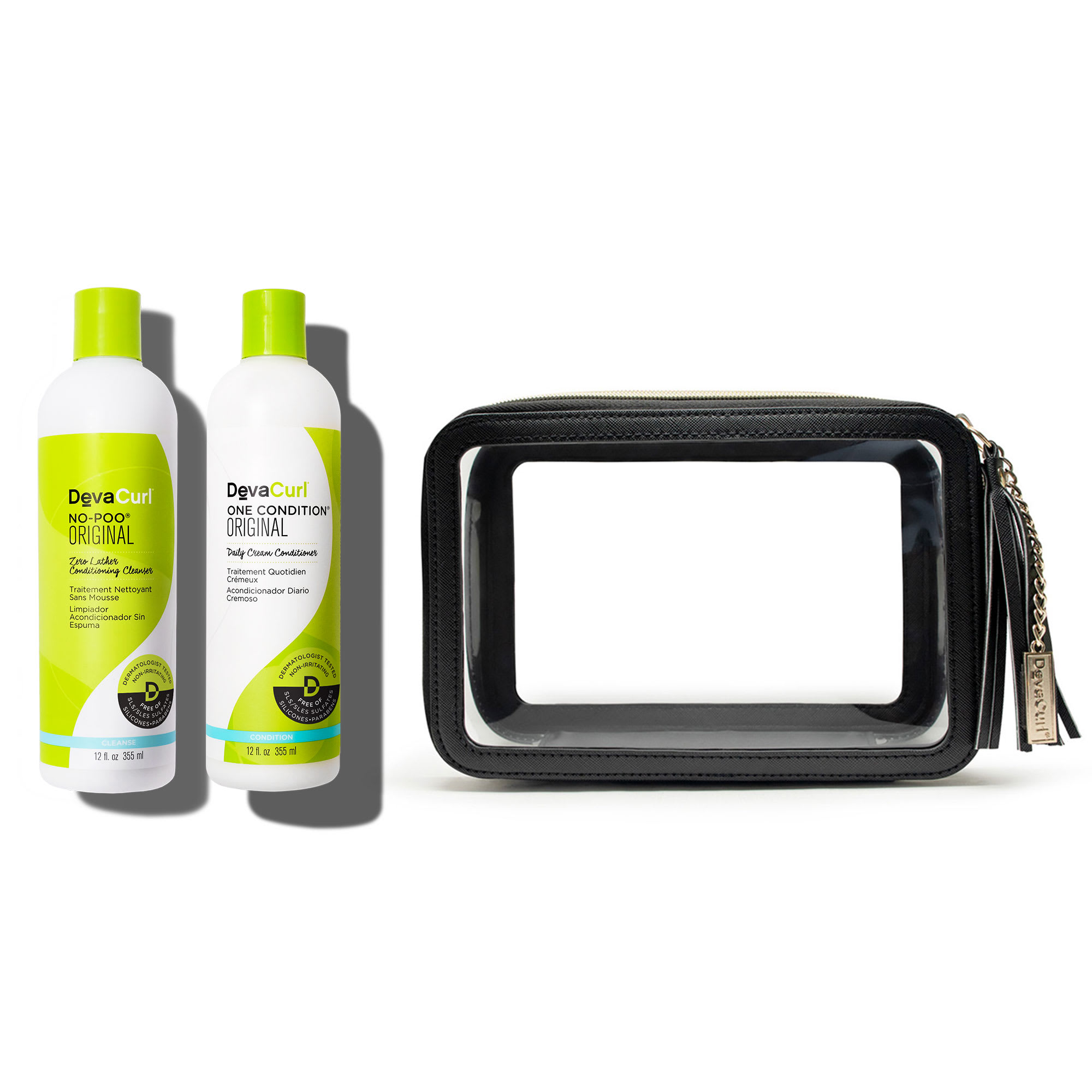 Original cleanser and conditioner bottles + DevaTravel case