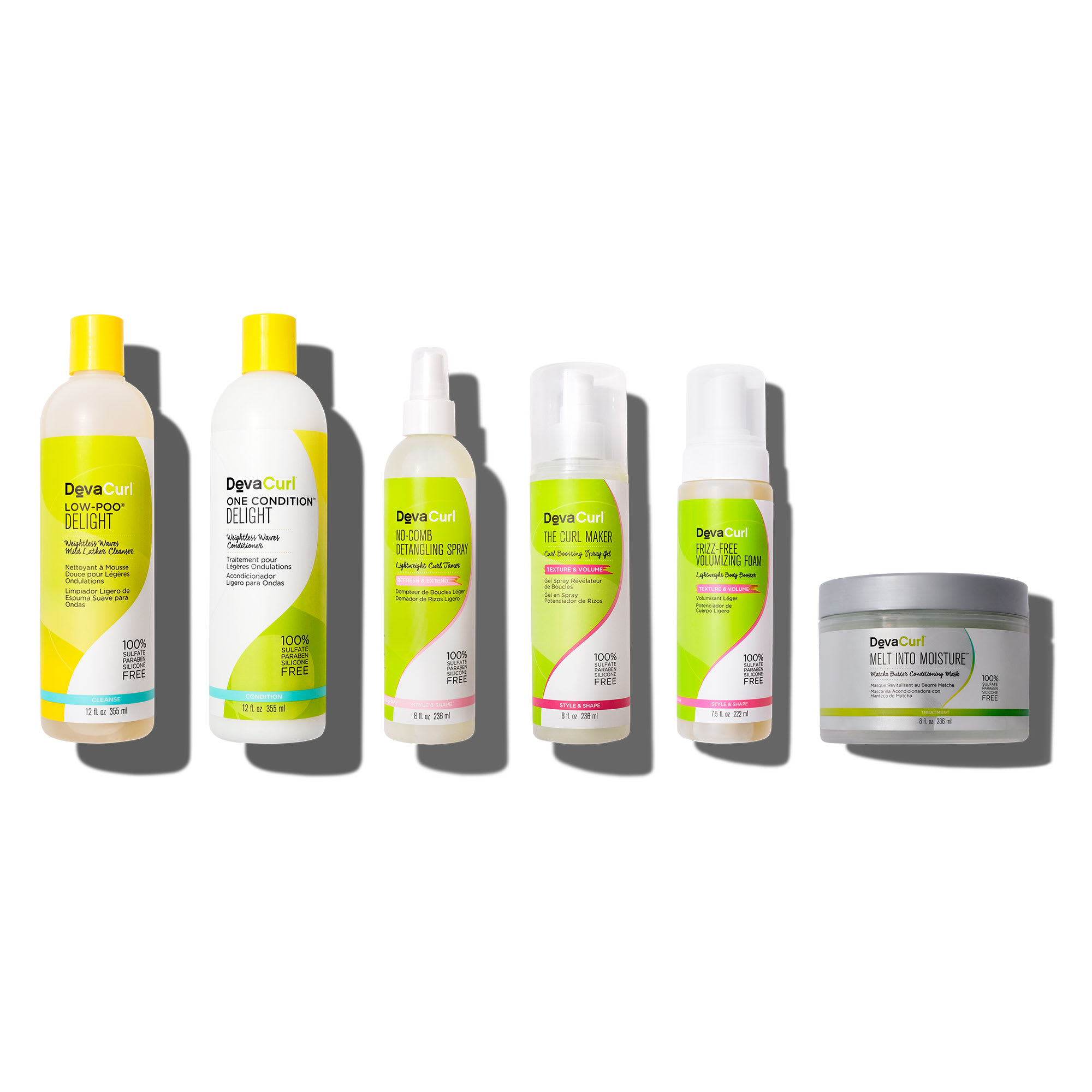 Delight cleanser and conditioner, No-Comb Detangling Spray, The Curl Maker, Frizz-Free Volumizing Foam and Melt Into Moisture bottles.