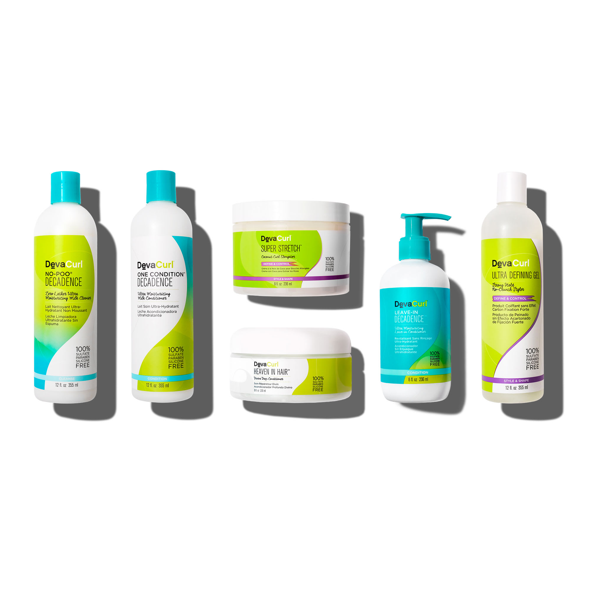 Decadence cleanser, conditioner and leave-in bottles. Ultra Defining Gel, Heaven in hair, and Super Stretch bottles.