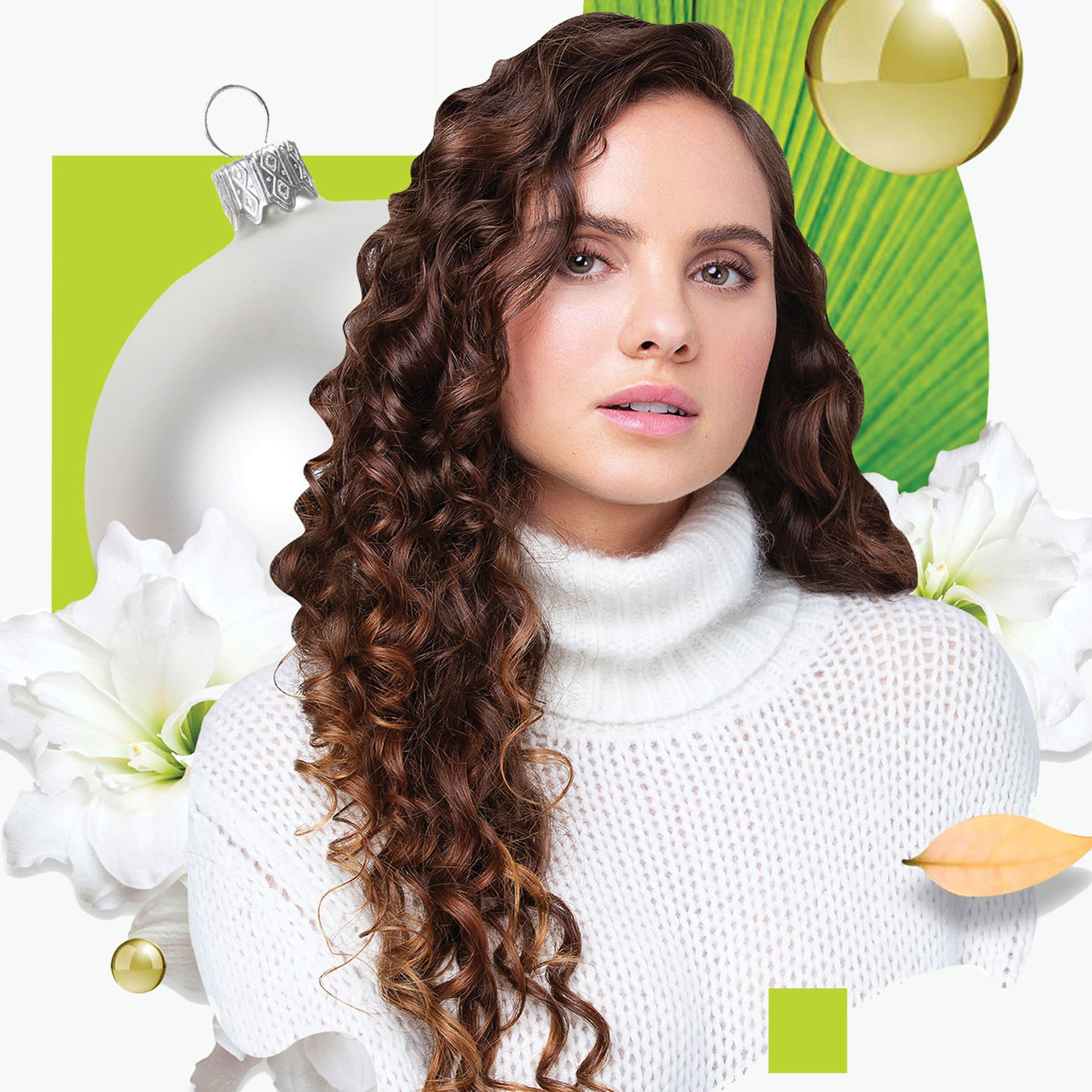 curly hair woman with decorative collage background