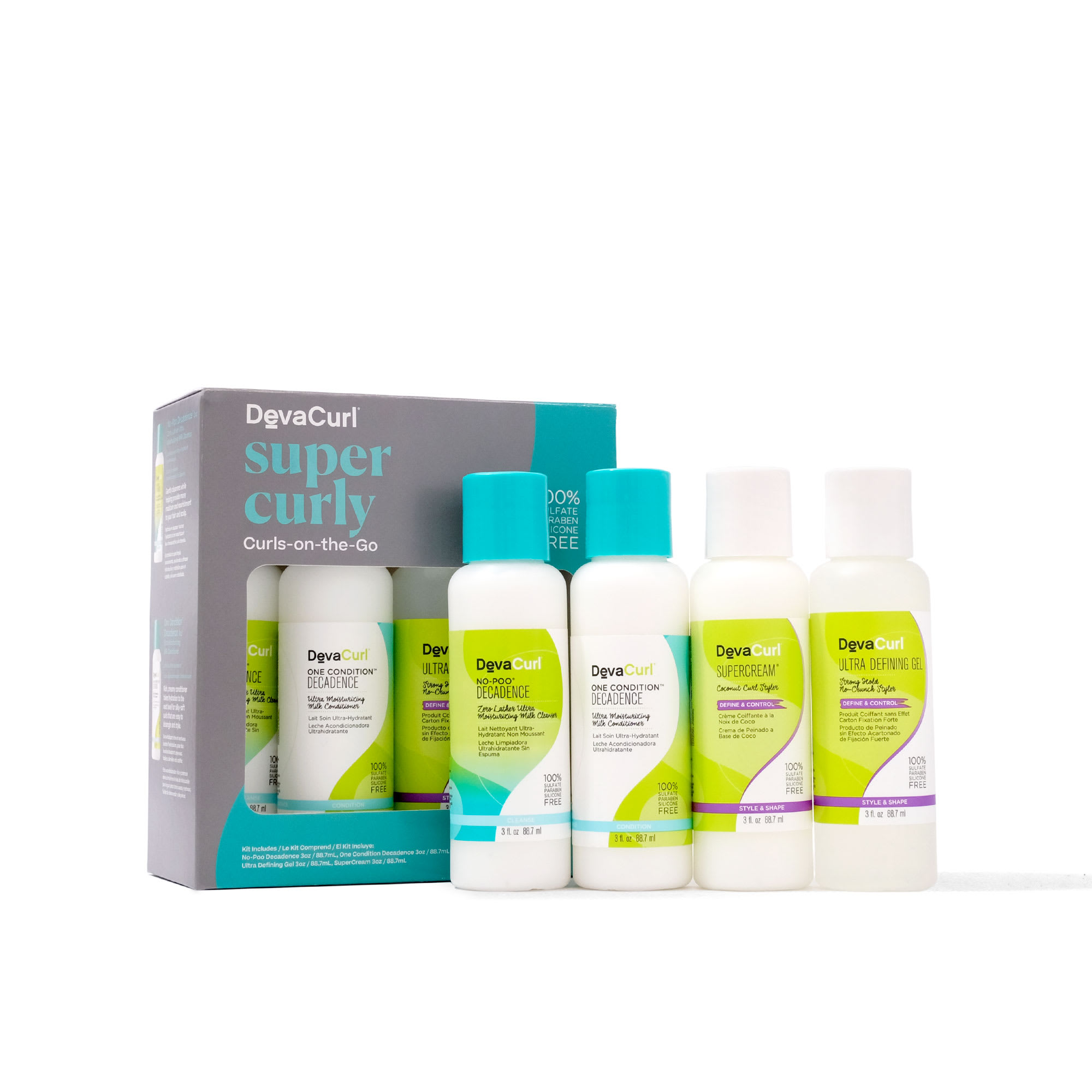 devacurl super curly curls on the go box with contents outside