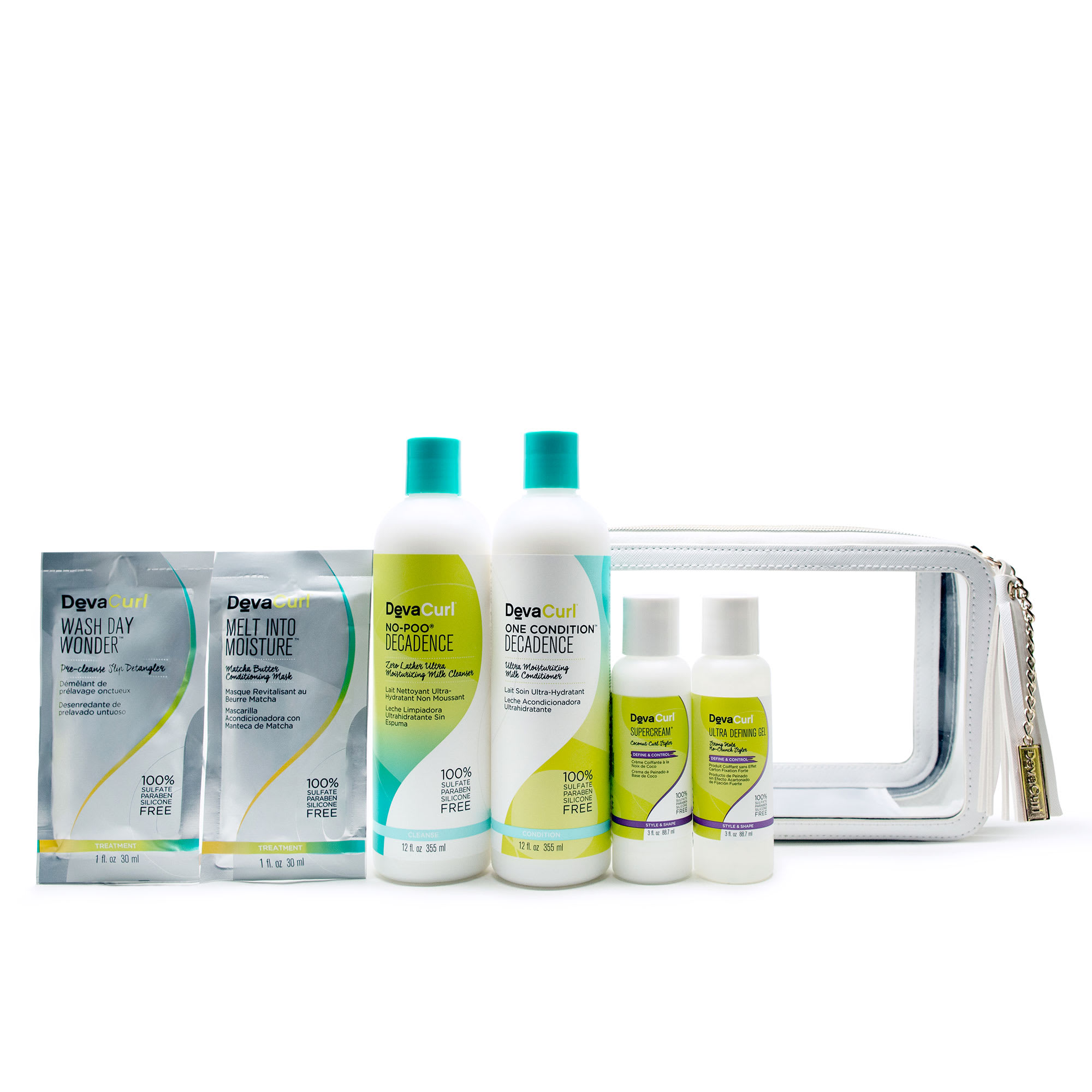 super curly routine kit bottles and travel case
