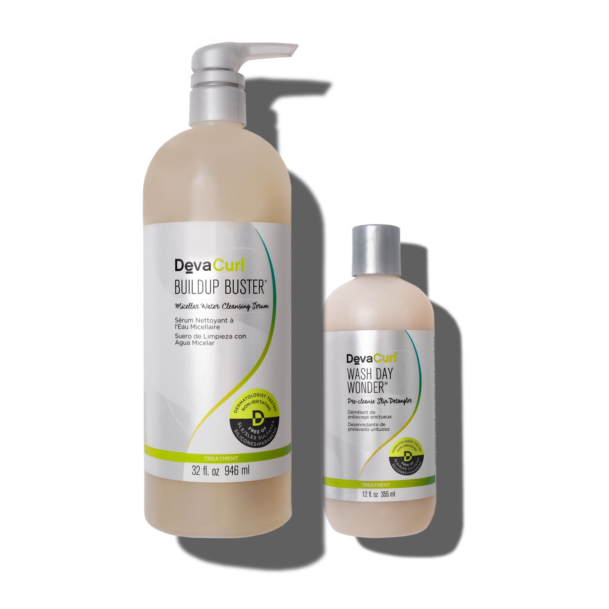 DevaCurl Buildup Buster 32oz bottle and Wash Day Wonder 12oz bottle