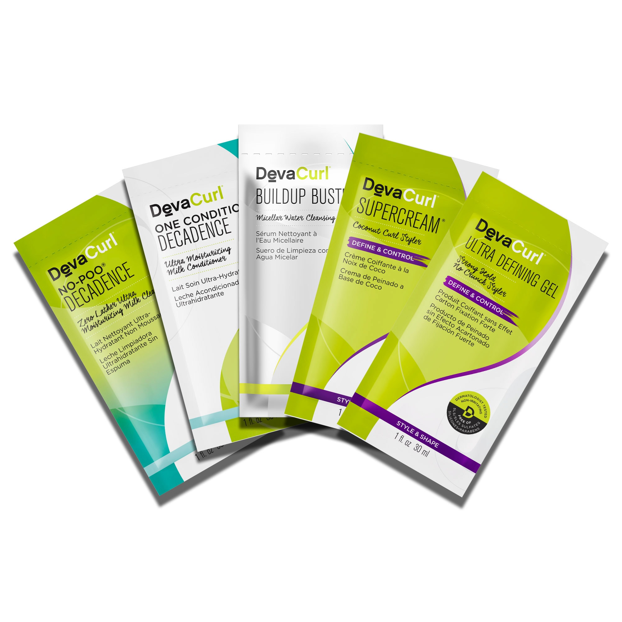 5 packettes: No-Poo & One Condition Decadence, Buildup Buster, SuperCream and Ultra Defining Gel