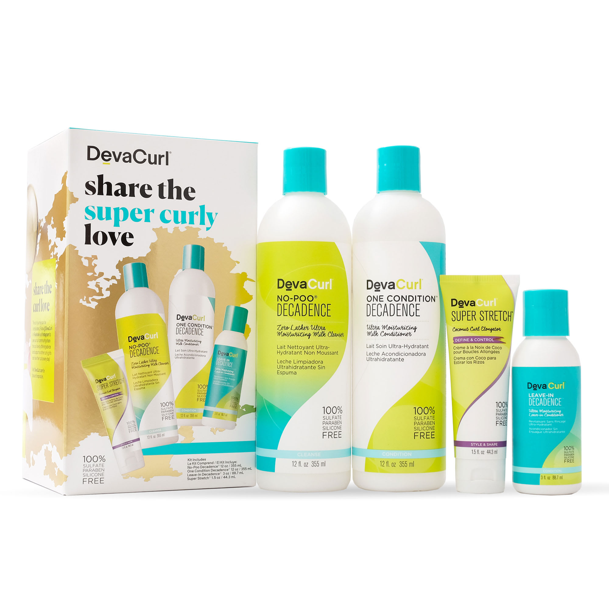 holiday kit with decadence cleanser & conditioner bottles and styler mini