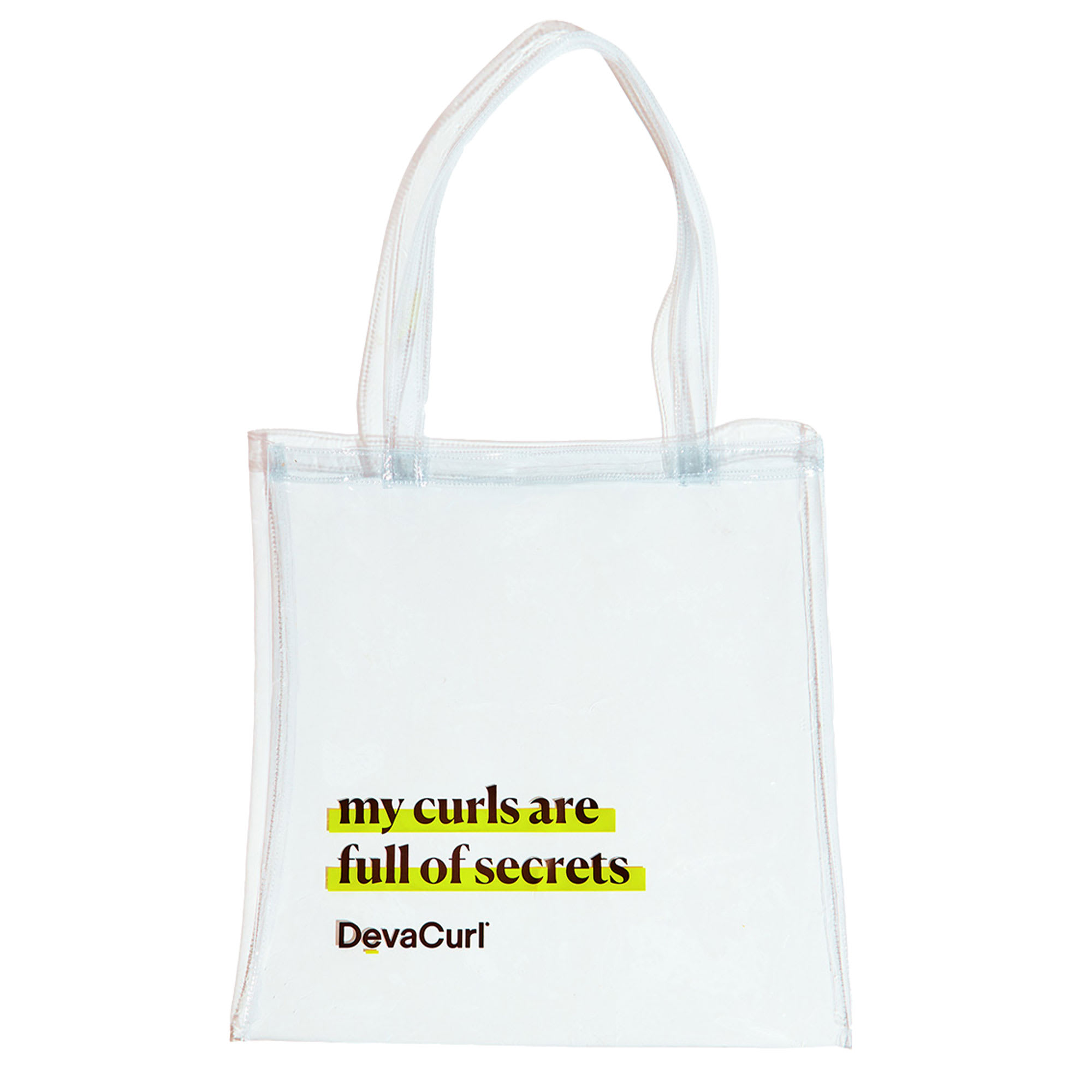 "clear deva tote with ""my curls are full of secrets"""