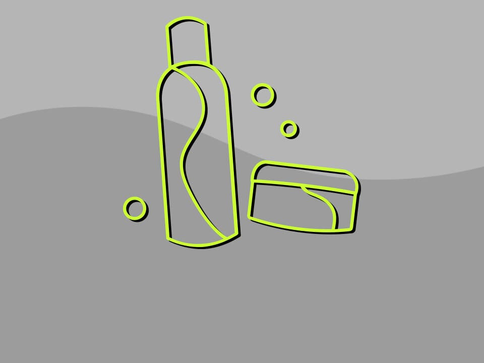 product bottles with bubbles icon