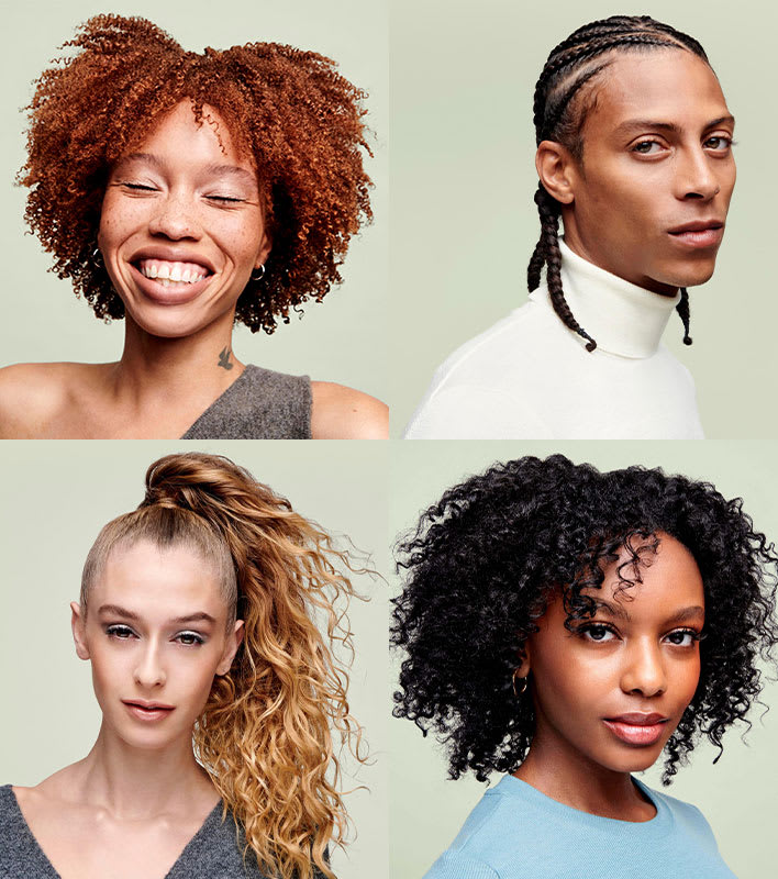 four people curly hair