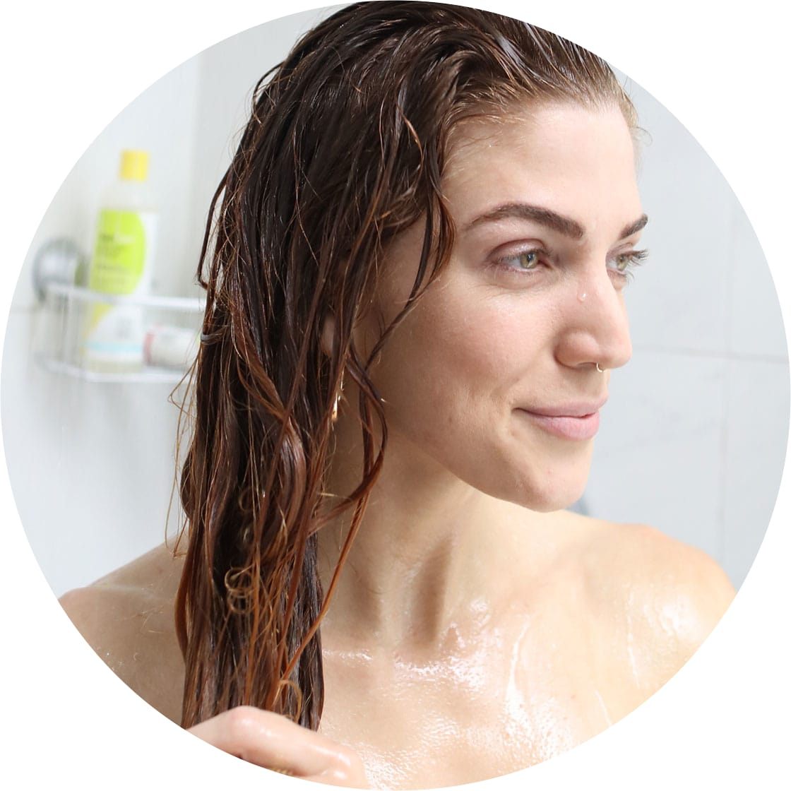 woman with wavy hair in the shower