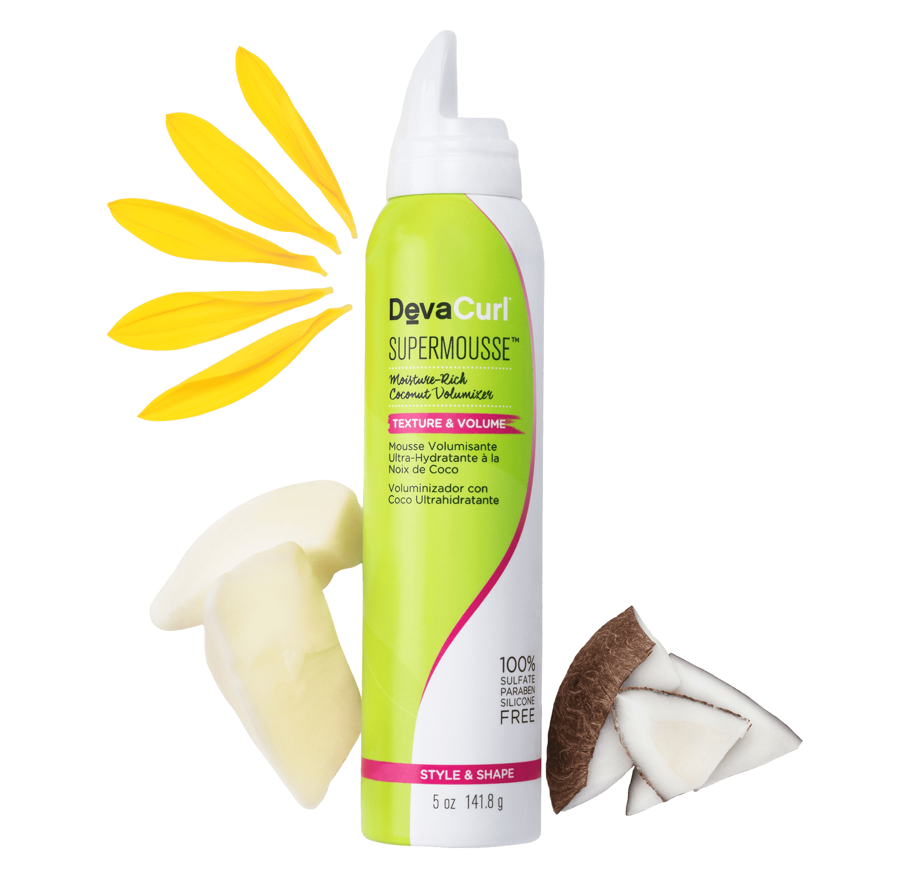 SuperMousse can with raw ingredients: sunflower petals, coconut pieces and tacuma butter
