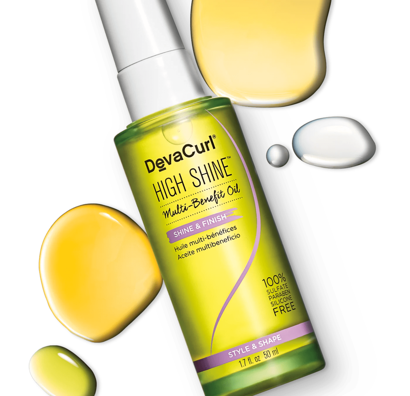 bottle of DevaCurl high shine with oil splash