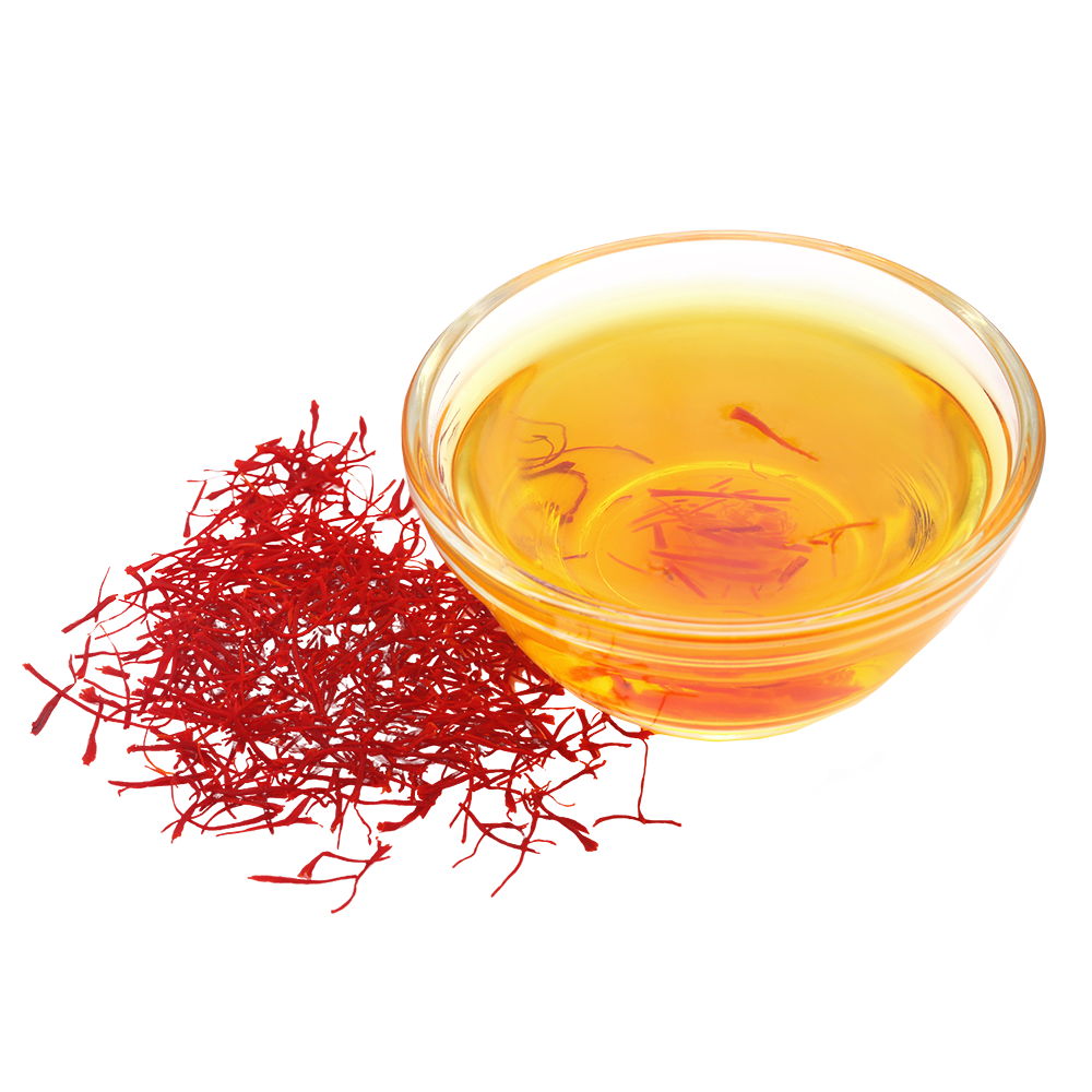 Saffron flower extract in a bowl