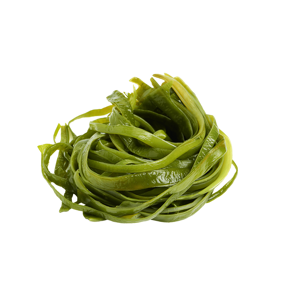 Five piles of different types of seaweed