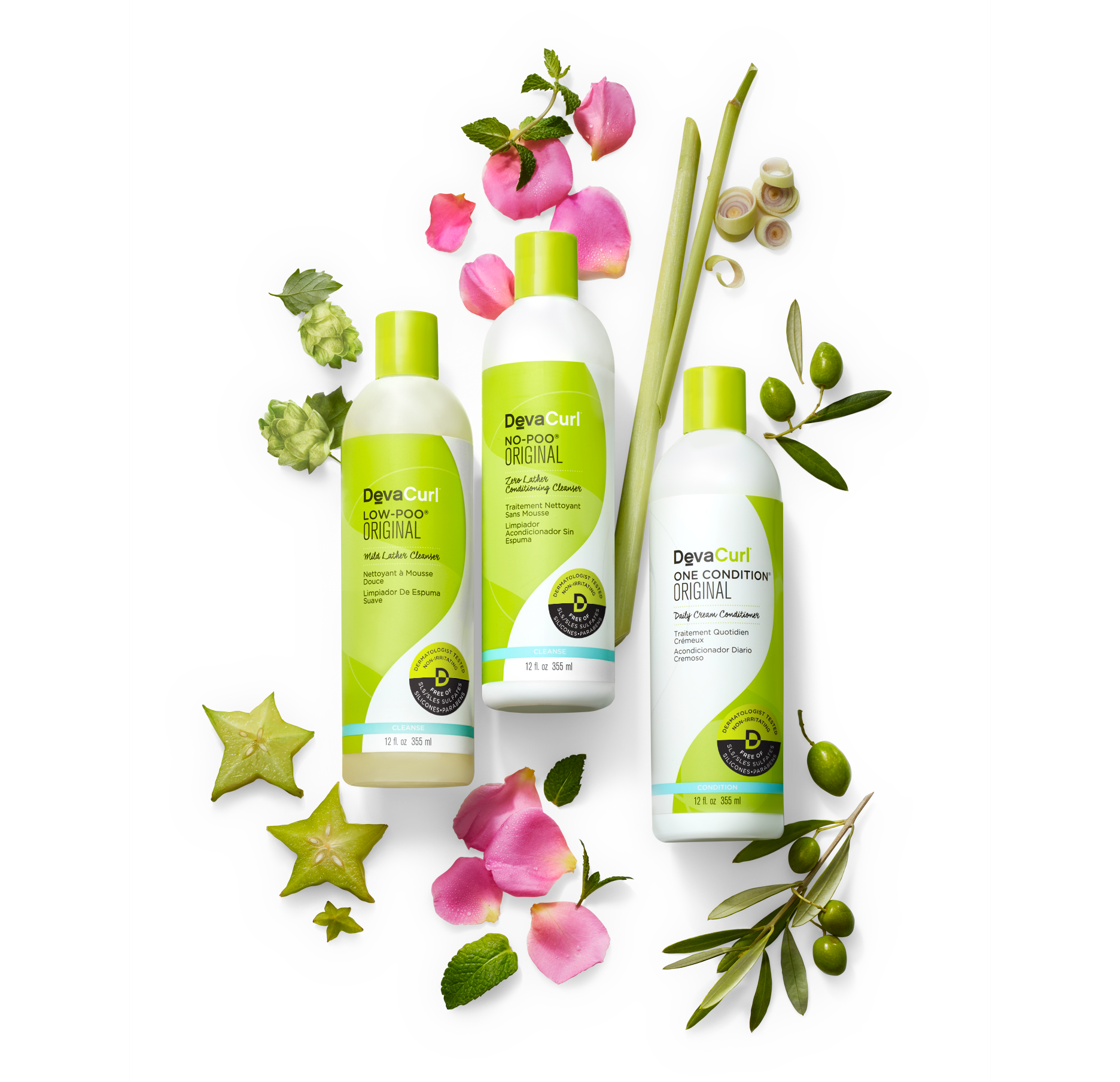 DevaCurl Original cleansers and conditioner bottles with botanicals