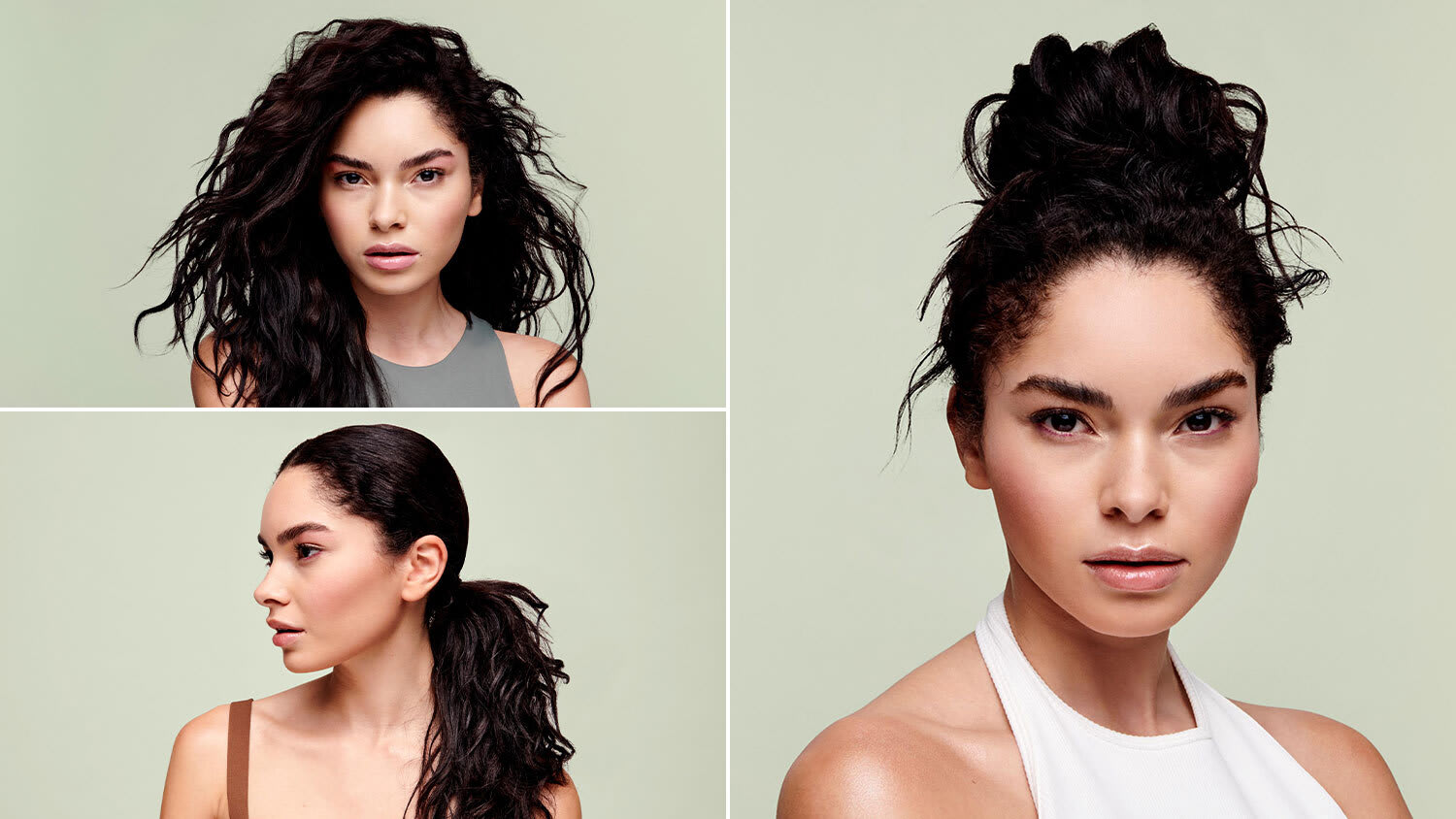 wavy hair model with different hairstyles