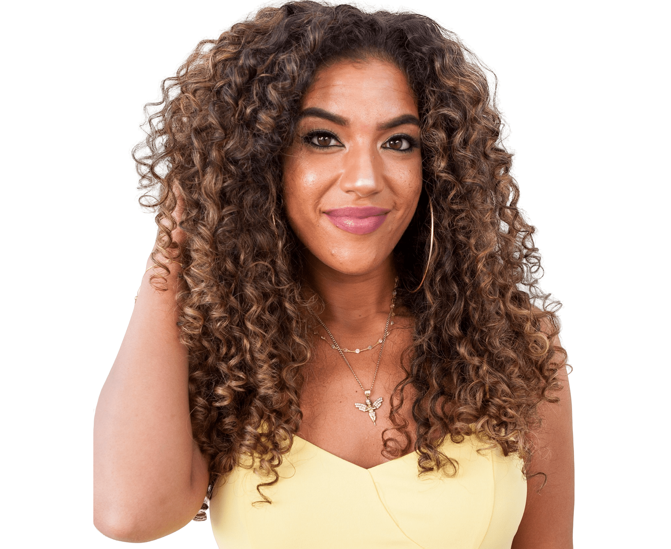 Woman smiling with long curly hair
