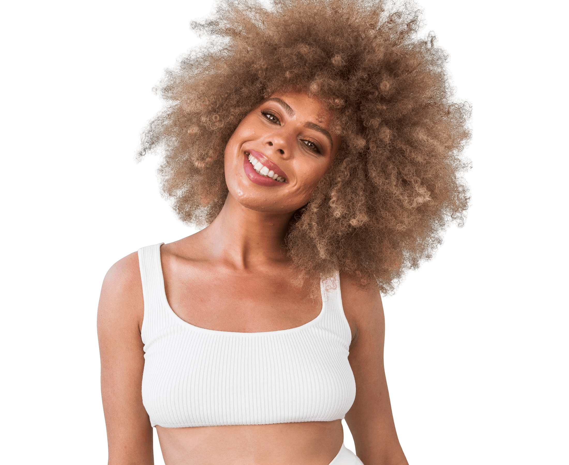 Woman smiling with big blonde super curly hair