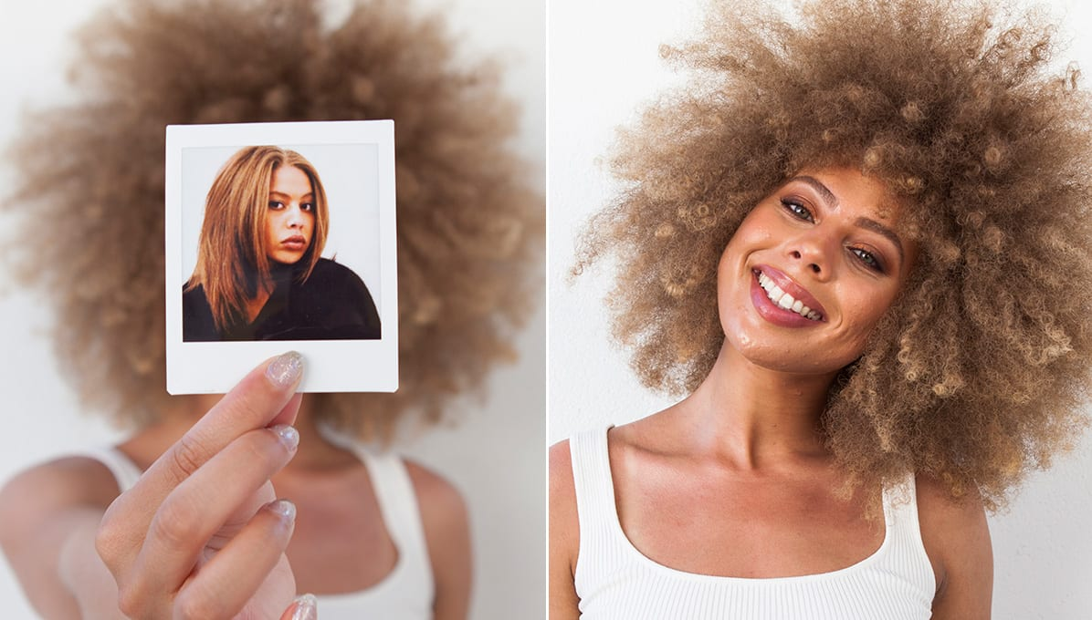 woman with super curly blonde hair before and after transformation