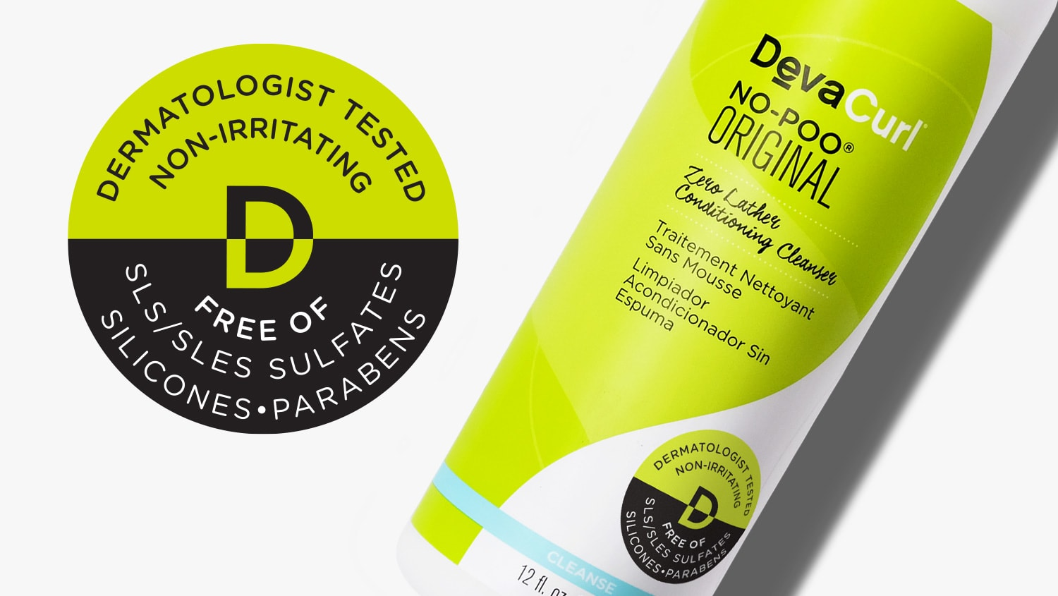 Dermatologist Tested - Non Irritating label and No-Poo Original bottle