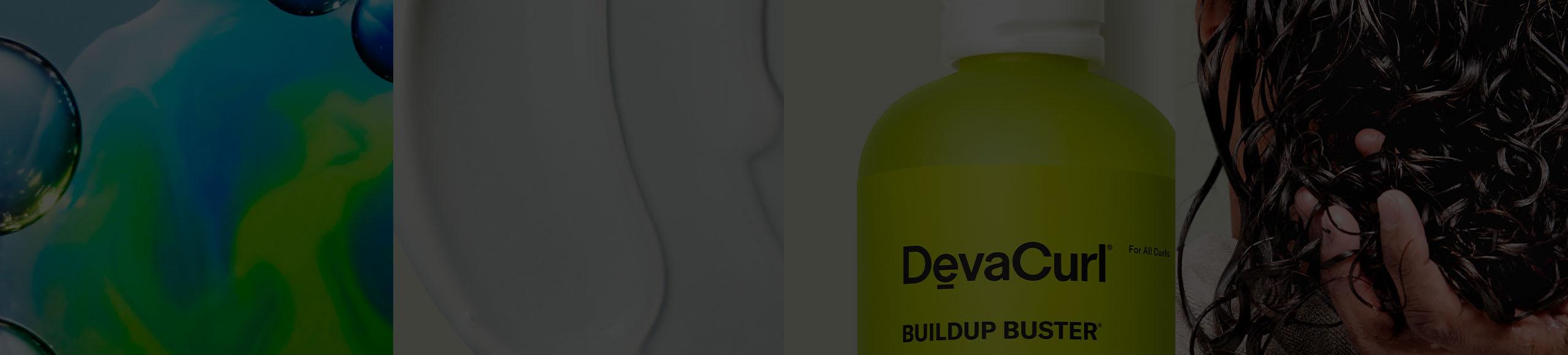 collage of devacurl product, goop, science