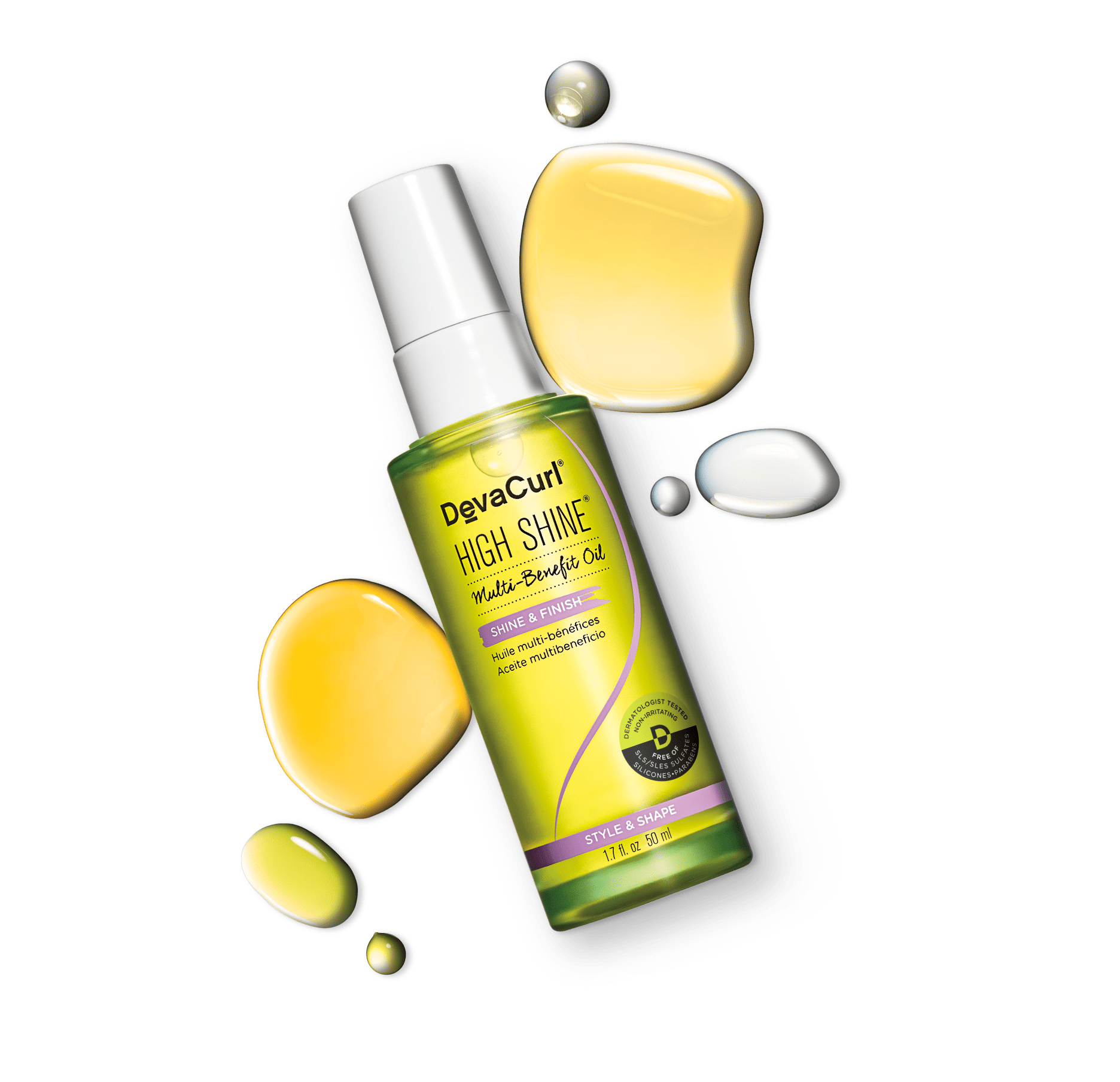bottle of DevaCurl high shine with oil splash