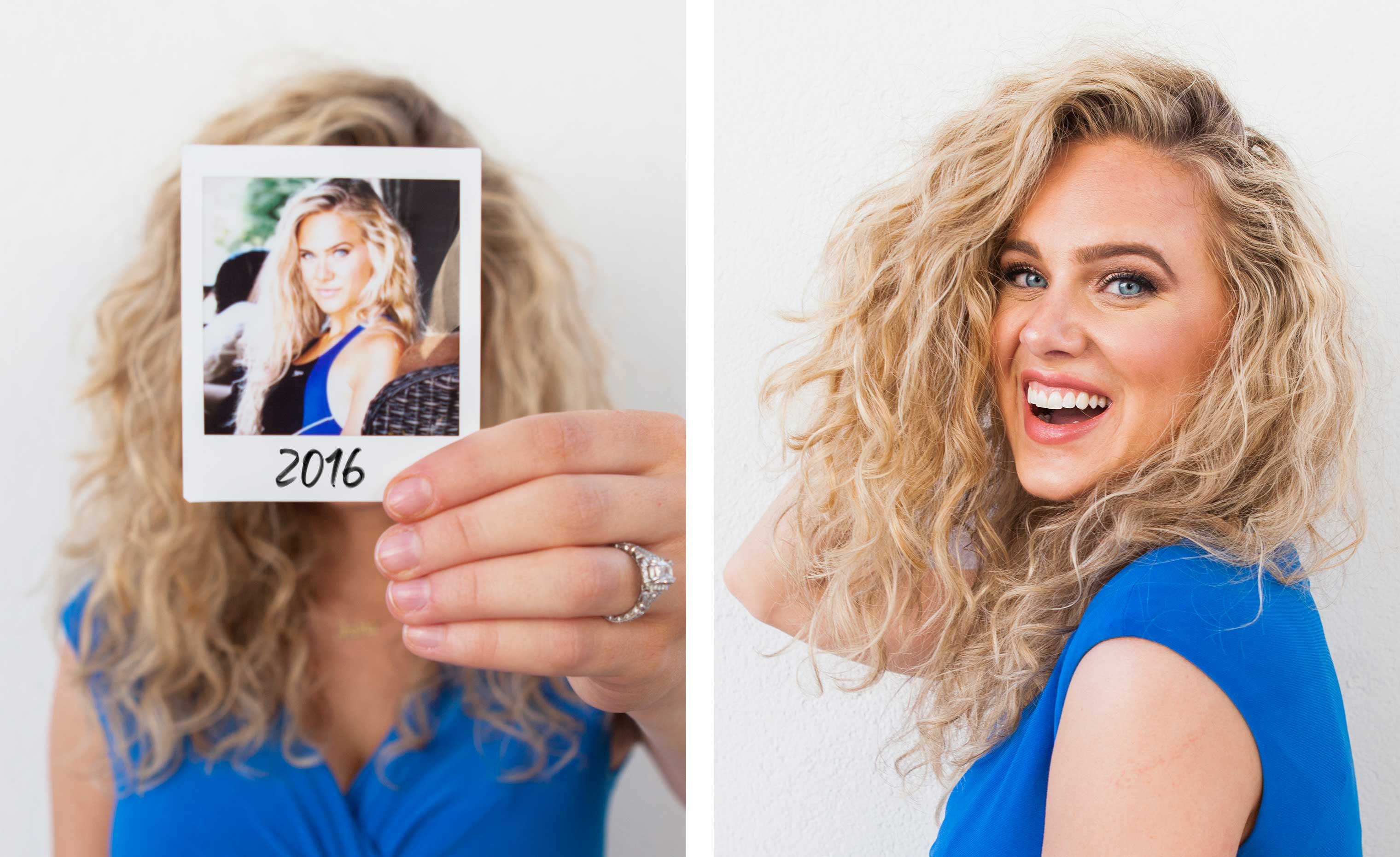 woman with blonde wavy hair holding up her before transformation photo next to her after