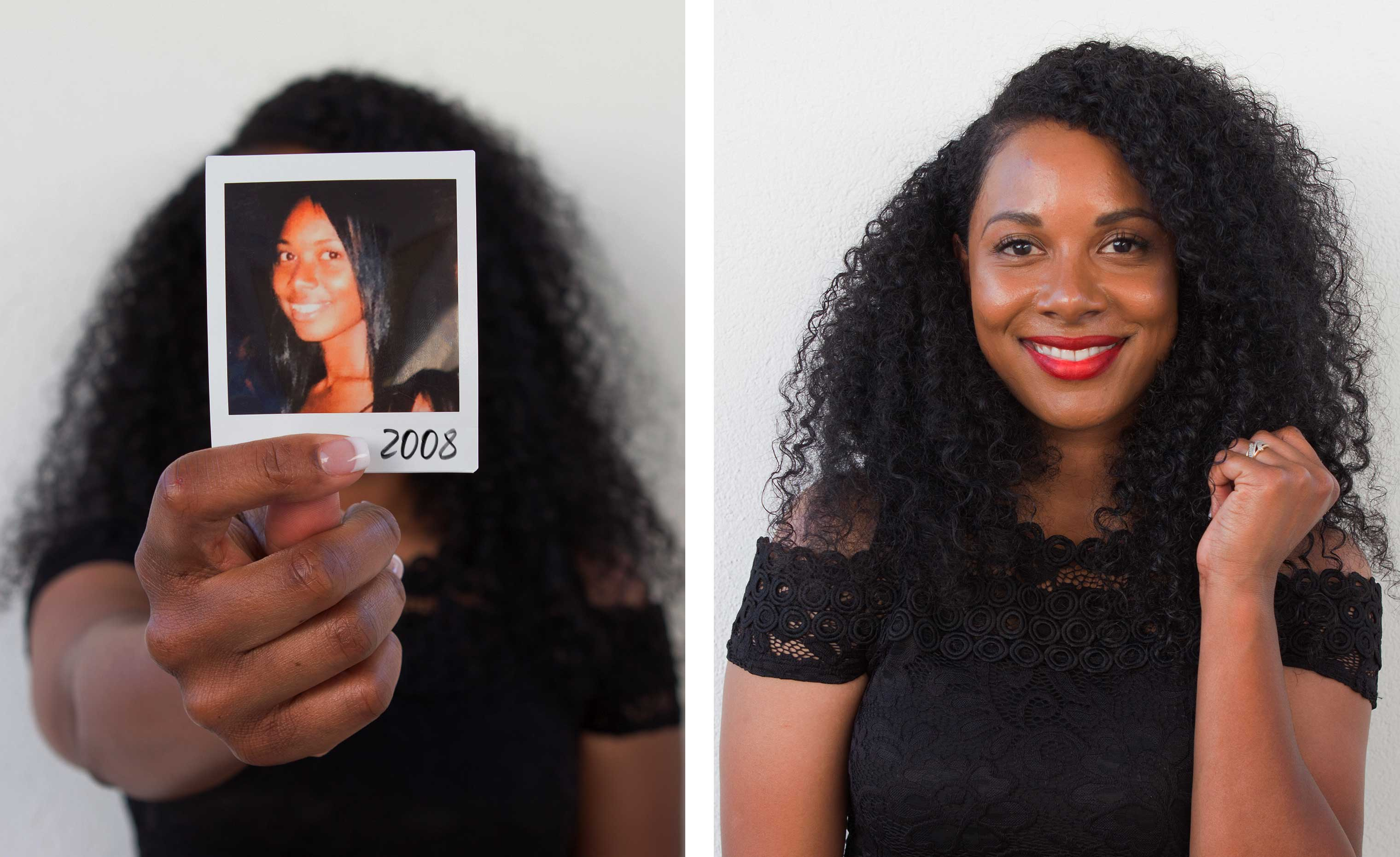 woman with long dark curly hair holding up her before transformation photo next to her after