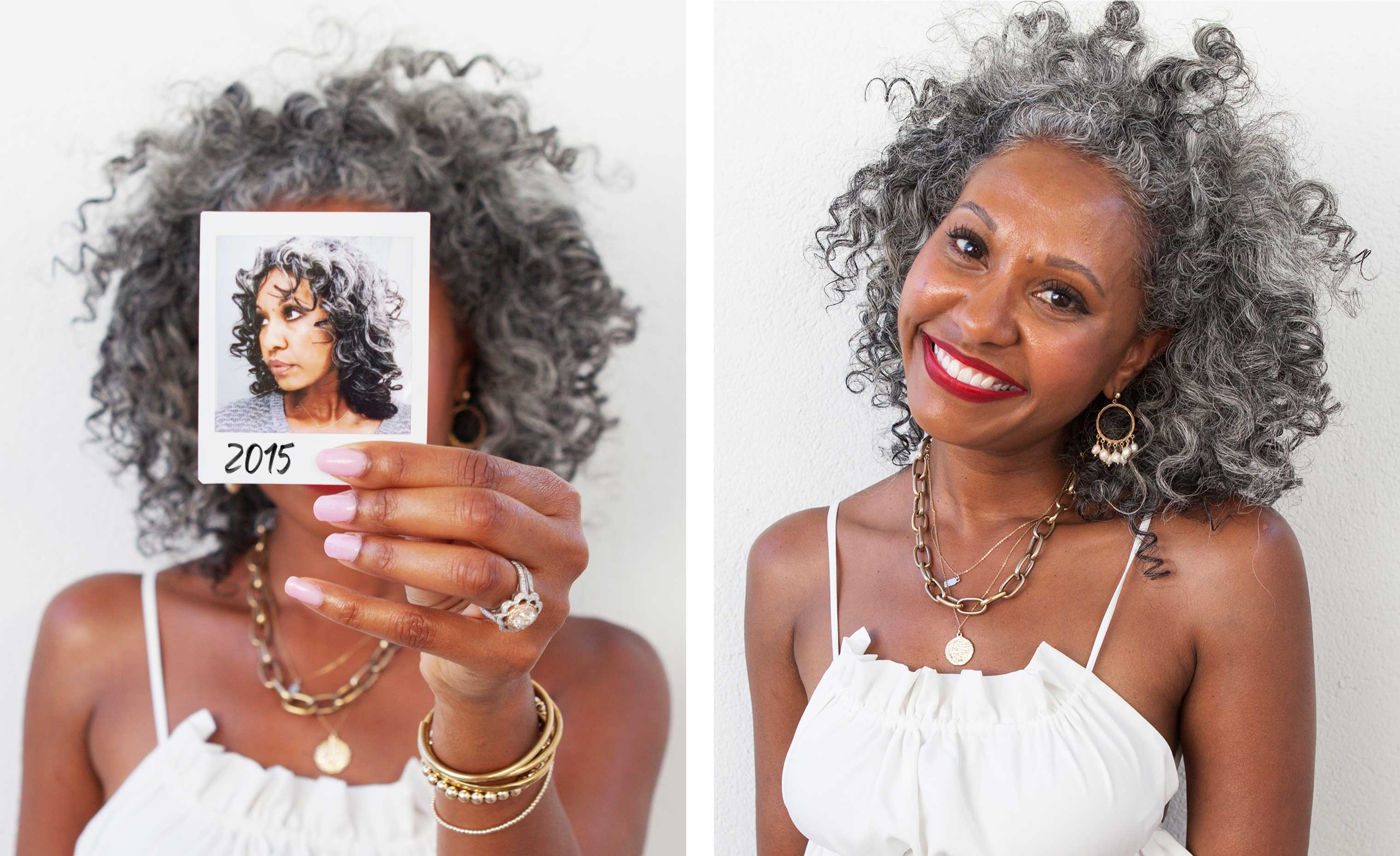 woman with grey curly hair holding up her before transformation photo next to her after