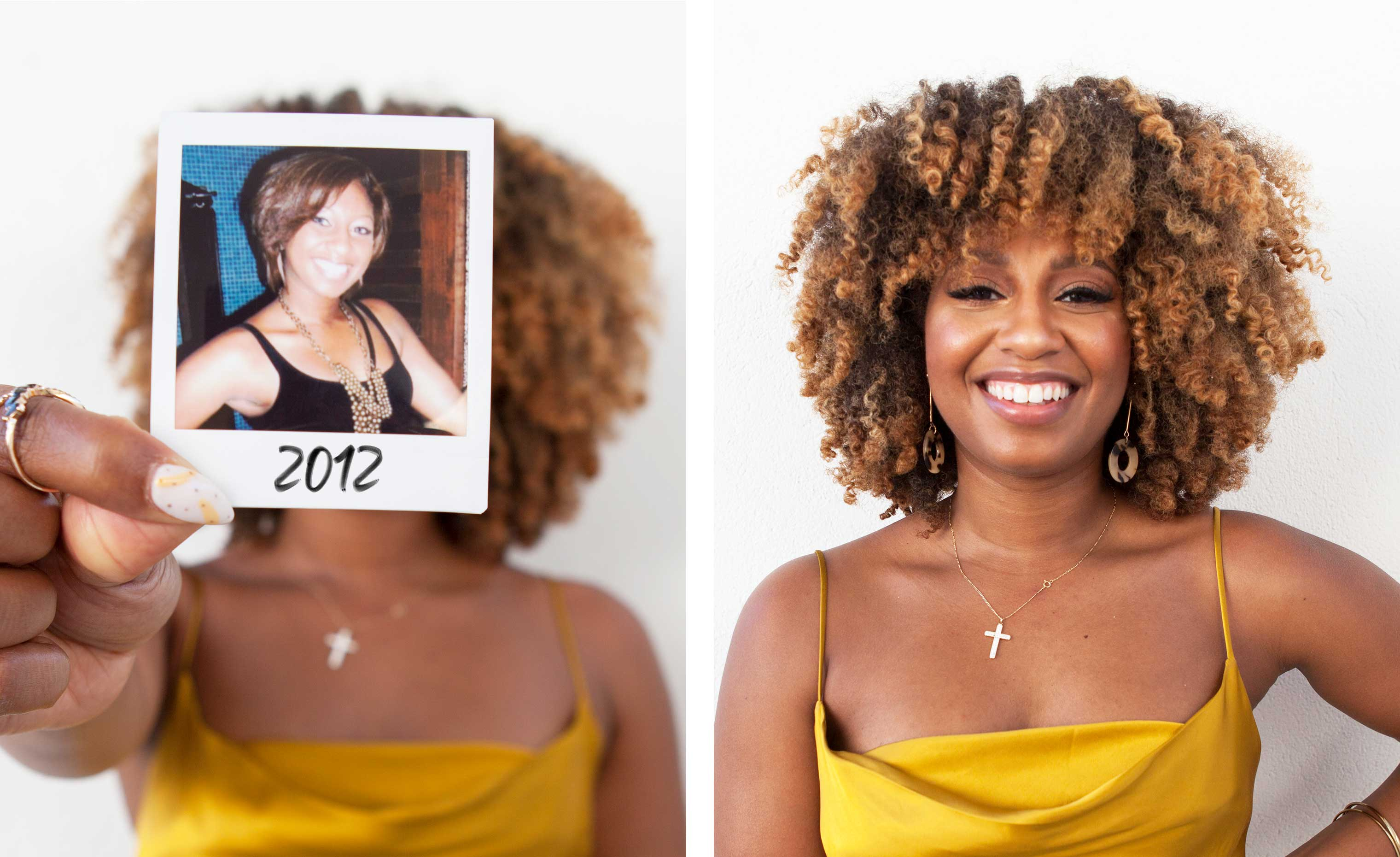 woman with highlighted curly hair holding up her before transformation photo next to her after