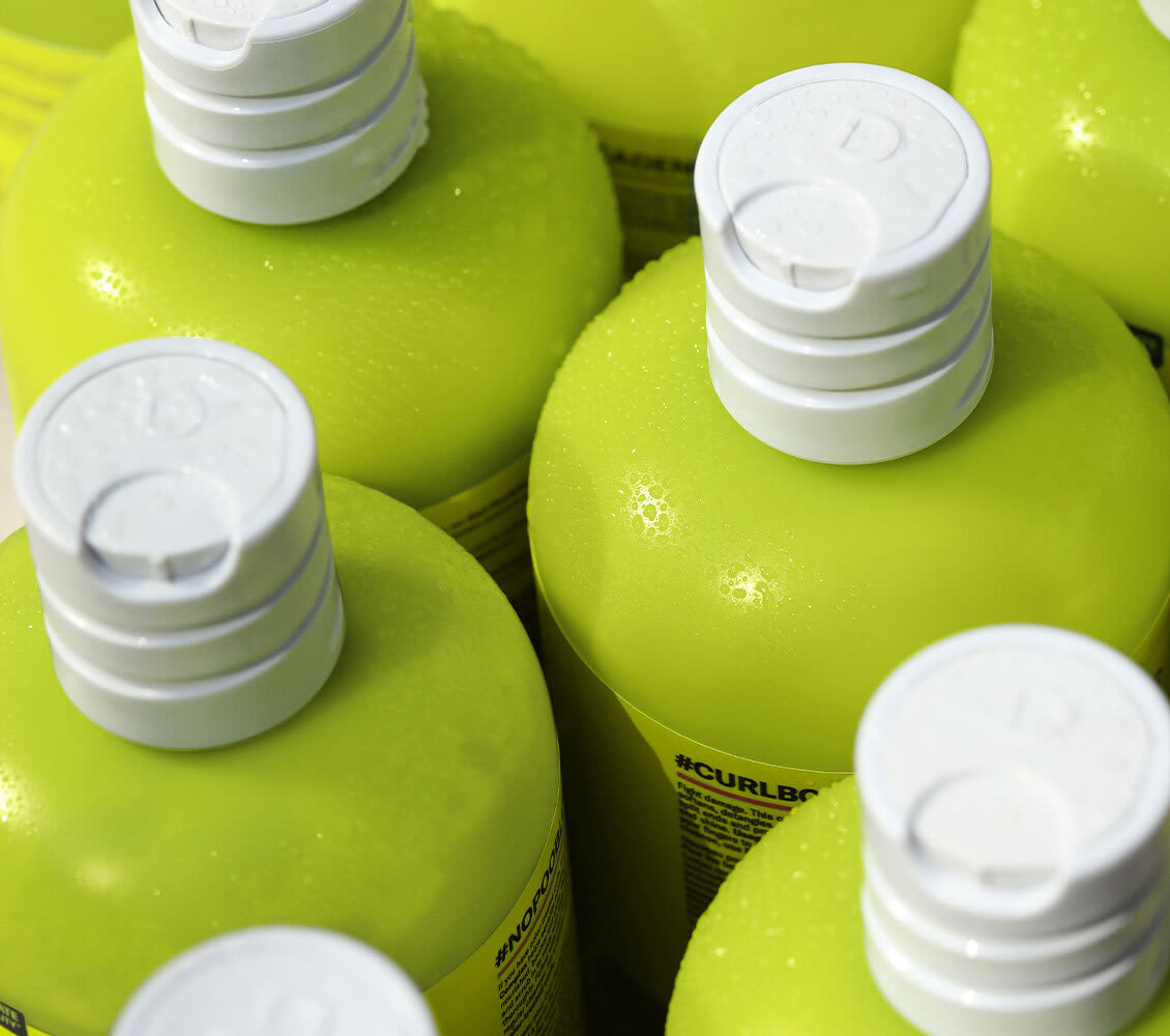close up of product bottles and caps