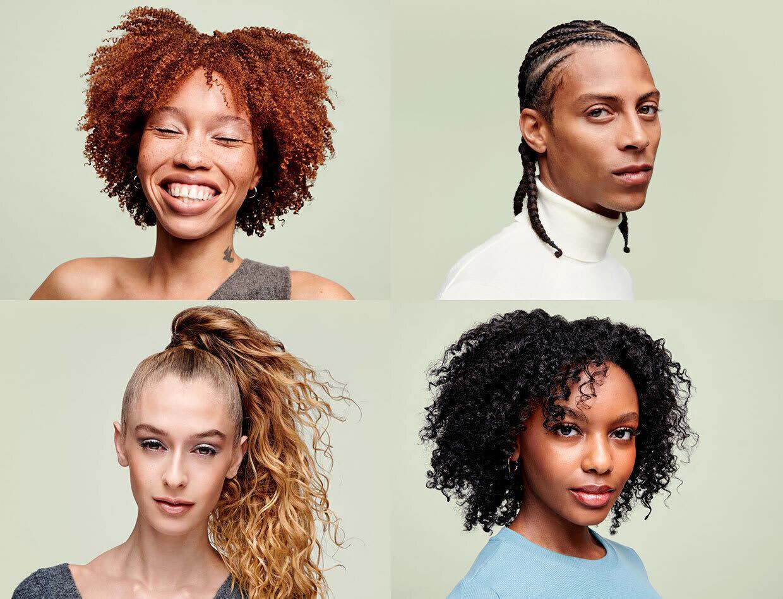 grid of 4 curly hair models
