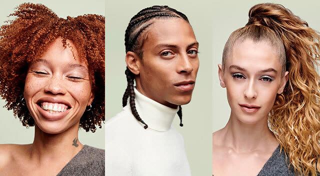 grid of curly hair models