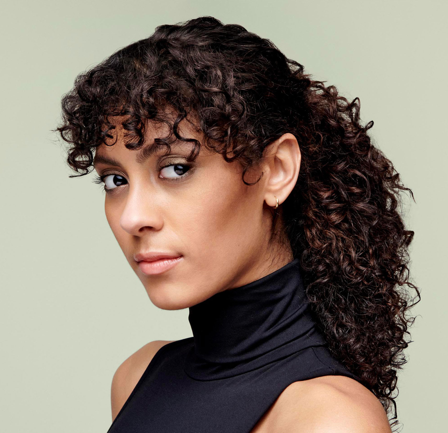 Curly with hair up