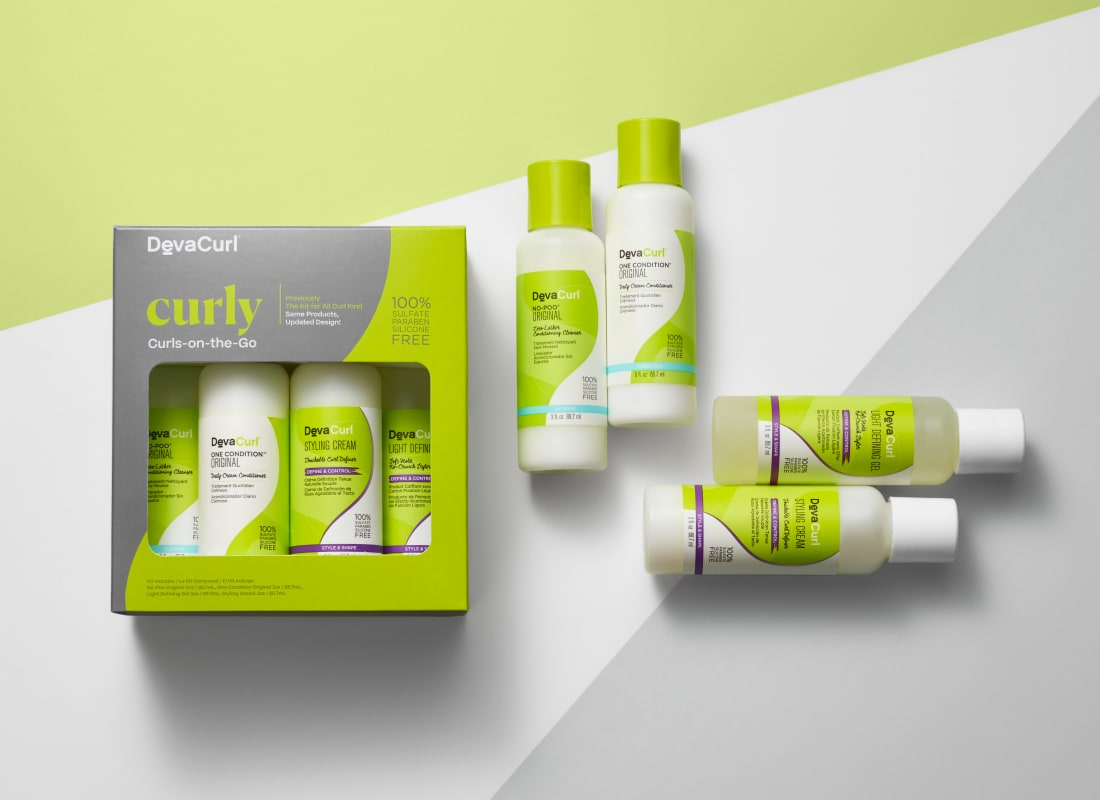 Curly Curls-on-the-Go Kit box with contents outside
