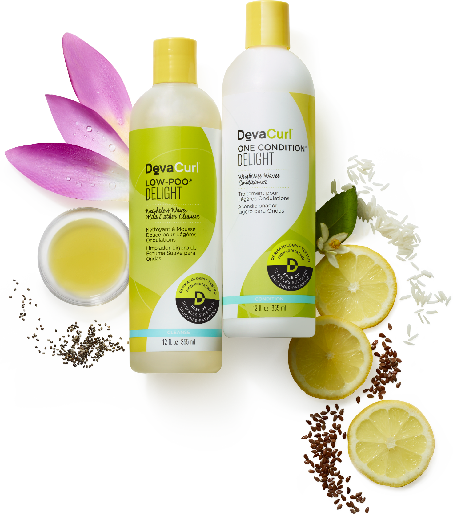 DevaCurl Low-Poo and One Condition Delight bottles with raw ingredients