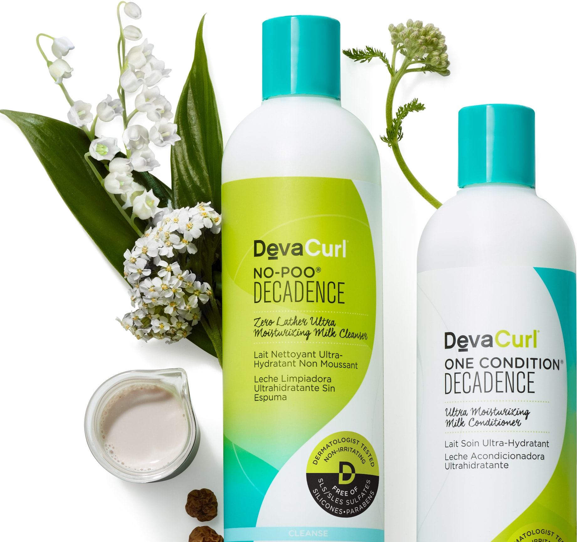 devacurl decadence cleanser & conditioner bottles with raw ingredients