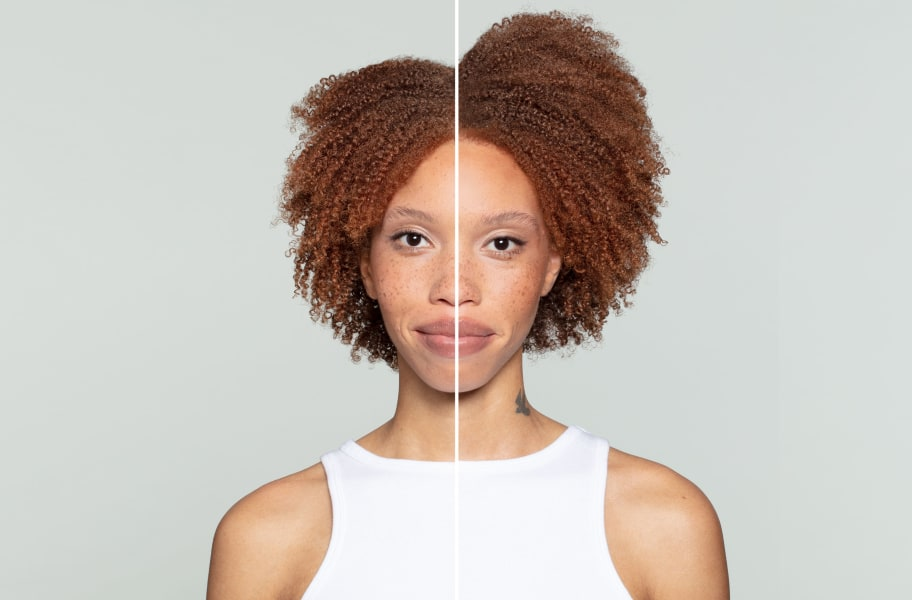Woman with red coily hair Before and After