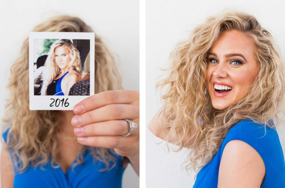 before and after pictures of a wavy hair woman smiling woman