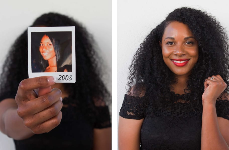 super curly woman before and after