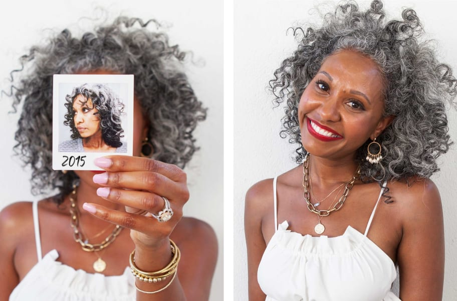 curly hair woman holding up before polaroid and after image