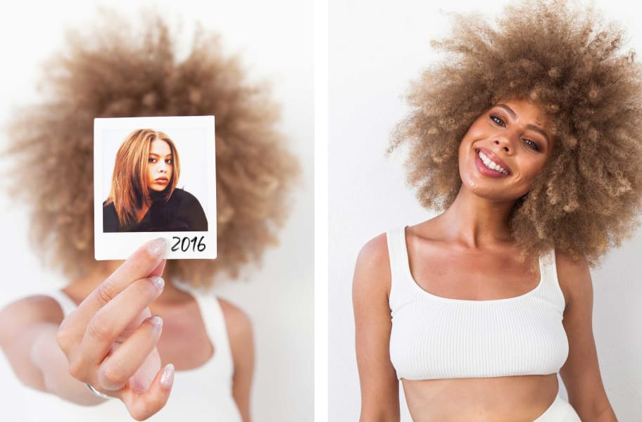"curly hair woman holding up ""before"" polaroid of straight hair  and after image"