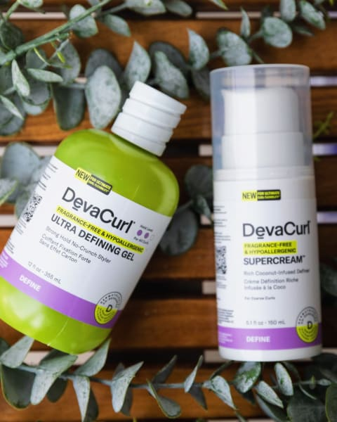 DevaCurl hypoallergenic and Fragrance-Free Ultra Defining Gel & SuperCream bottles