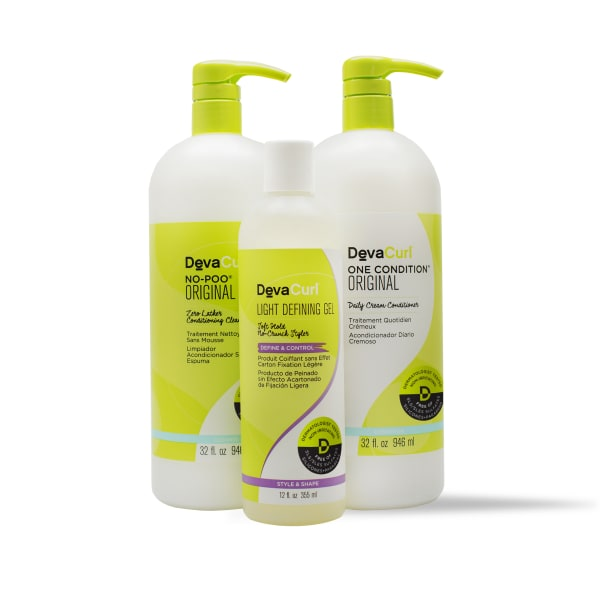 Original cleanser and conditioner liters and 12oz Light Defining Gel bottle