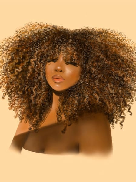 Art: Black woman with voluminous curly hair
