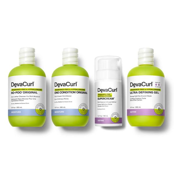 DevaCurl Fragrance-Free & Hypoallergenic No-Poo Original, One Condition Original, SuperCream & Ultra Defining Gel bottles
