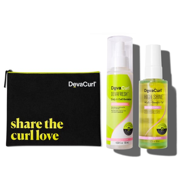 Deva Pouch, DevaFresh travel size bottle 1.69oz and High Shine